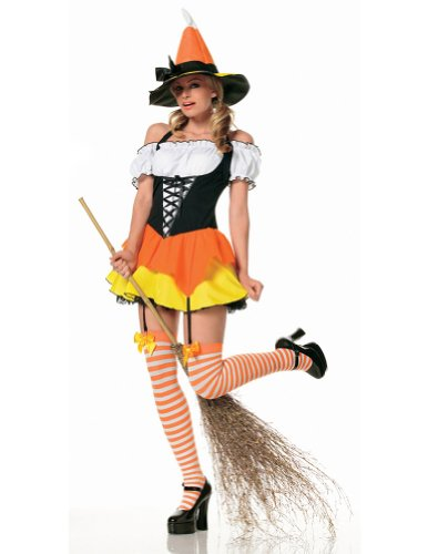 [Candy Corn Witch Adult Costume - X-Small] (Emergency Services Fancy Dress Costumes)