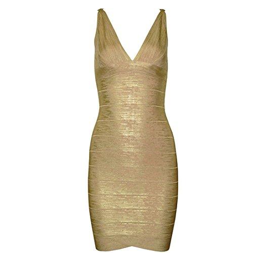 HLBCBG Kleid Gold Blau Gold Damen Gold q1wHqZg