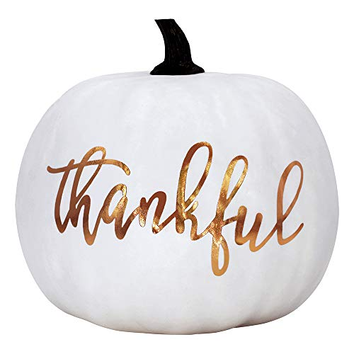 white pumpkin decoration with writing