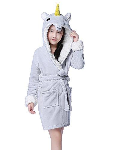 NEWCOSPLAY Children's Unicorn Hooded Bath Robe (5-7 Years, Gray Unicorn)