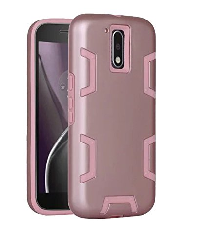 Price comparison product image Moto G4 Case,  Moto G4 Plus Case, DAMONDY Hybrid Dual Layer Shockproof High Impact Hard Plastic Soft Silicon Rubber internal Armor Defender Phone Case Cover for Motorola Moto G4 / G4 Plus -rose-rose