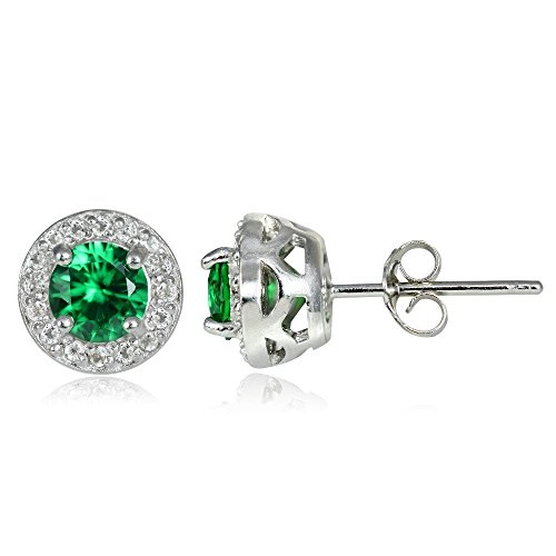 Sterling Silver Synthetic Emerald & White Topaz 5mm Halo Stud - Emerald Earring Synthetic