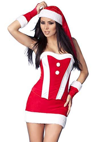 Women Party Fancy Sexy 4 Pcs Red Velvet Bustier Christmas Costume Set - Christmas Velvet Bustier