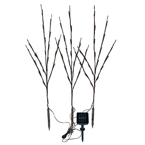Samoii Solar Branch Lights 3 Pack Solar Powered Decorative Tree Lights Willow Twig Lighted for Home Holiday Party Decoration (White) (And Fairy Twigs Lights)
