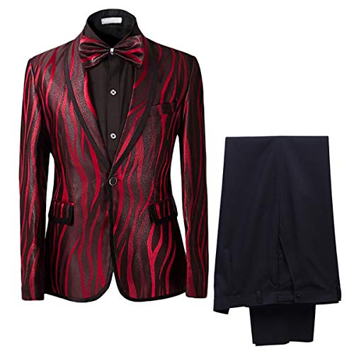 t Shawl Collar One Button Red Dress Suit Smart Fit Stylish Blazer and Pants, Red, XXXXX-Large ()