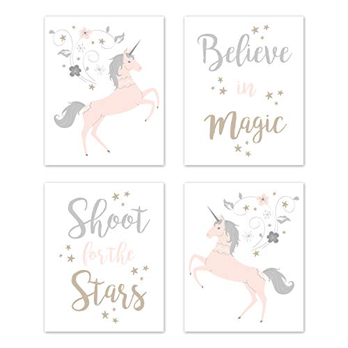 Sweet Jojo Designs Pink, Grey and Gold Wall Art Prints Room Decor for Baby, Nursery, and Kids for Unicorn Collection - Set of 4 - Believe, Stars