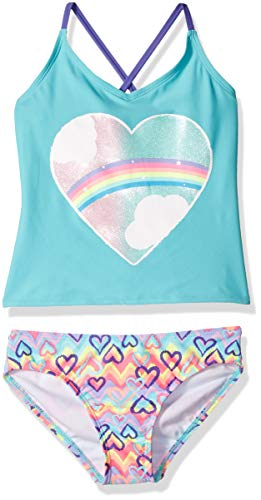 (Rivstar Big Girls' Tankini with Glitter Heart Placement Print 2PC, Multi, 16)
