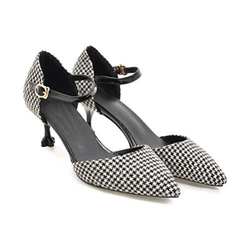 Kitten Heels Closed Pointed Toe Zapatos De Tacón Medio Vestido De ...
