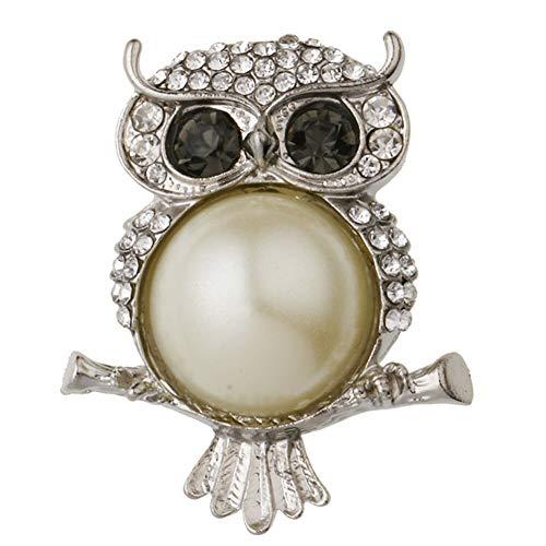 (Fashion Crystal Pearl Animal Dragonfly Butterfly Bird Brooch Pin Wedding Bridal (StyleID - 60#_Retro owl))