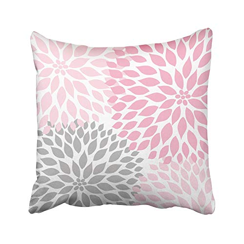 Little Throw Pillow Cover Pale Pink and Gray White Dahlia Cotton Pillowslip for Sofa Bed Stand Size Pillowcase 18x18 Inch