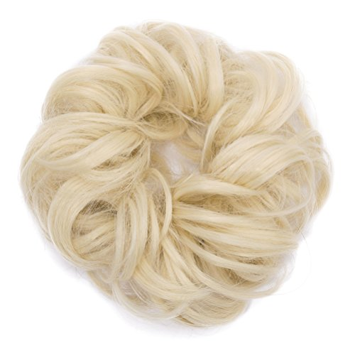 (Lady Fashion Scrunchy Updo Hair Extensions Wavy Curly Hair Bun Messy Donut Chignons Synthetic Scrunchies Hairpiece Bleach Blonde 613#)
