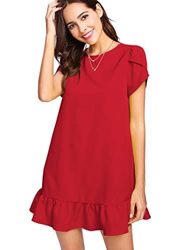 (Verdusa Women's Round Neck Petal Short Sleeve Ruffle Hem Tunic Dress Red M)