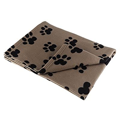 Pet Blanket Large For Dog Cat Animal 60 x 39 Inches Fleece Black Paw Print All Year Round Puppy Kitten Bed Warm Sleep Mat Fabric Indoors Outdoors By RZA