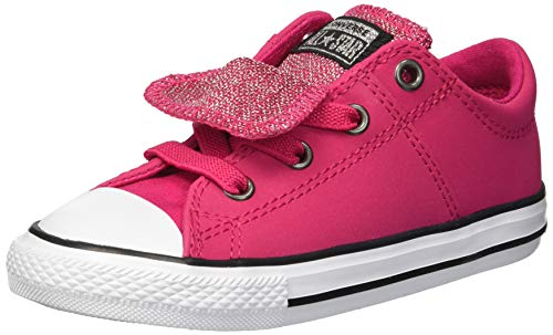 Converse Girls' Chuck Taylor All Star Glitter Leather Maddie Slip On Low Top Sneaker, Pink POP/Black/White, 8 M US Toddler