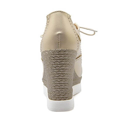 Amoonyfashion Mujeres Lace Up Round Closed Toe High Heels Solid Bombas-zapatos Beige