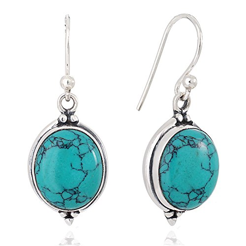 (925 Oxidized Sterling Silver Blue Turquoise Gemstone Oval Vintage Dangle Hook Earrings 1.3