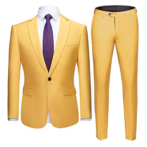 WULFUL Men's Suit One Button Slim Fit 2 Piece Suit for Men Casual/Formal/Wedding Party/Tuxedo Yellow