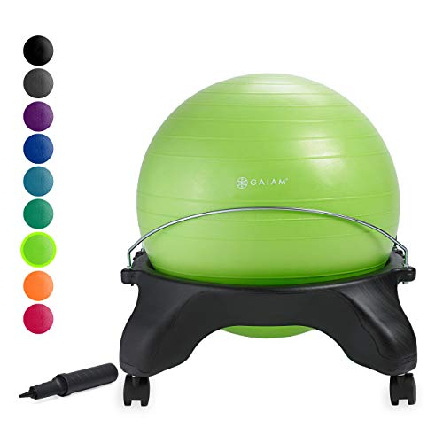 Ergonomic Office Ball Chairs - Gaiam Classic Backless Balance Ball Chair - Exercise Stability Yoga Ball Premium Ergonomic Chair for Home and Office Desk with Air Pump, Exercise Guide and Satisfaction Guarantee, Wasabi