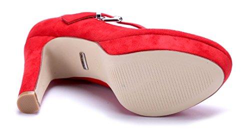 Schuhtempel24 Damen Schuhe Spangenpumps Pumps Rot Trichterabsatz 11 cm High Heels