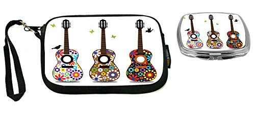 Rikki Knight Hippy 60's Flower Power Guitars Design Neoprene Clutch Wristlet with Matching Square Compact Mirror ()