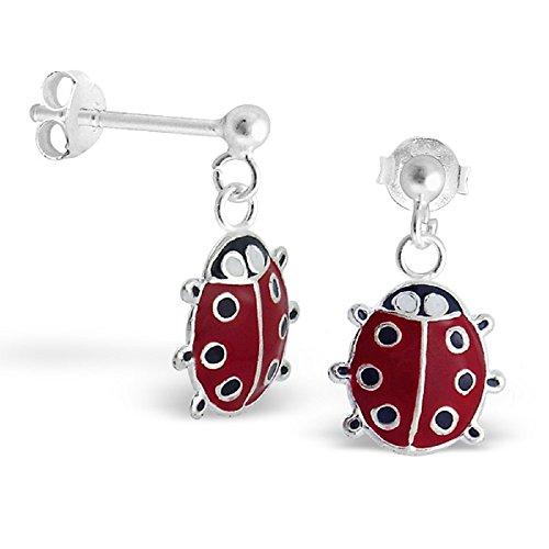 (925 Sterling Silver Dangling Ladybug Ear Studs 5146 )