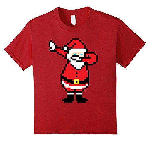 Kids Santa Dabbing Shirt Xmas Retro 8-Bit Pixel Art Novelty Gift 8 Cranberry