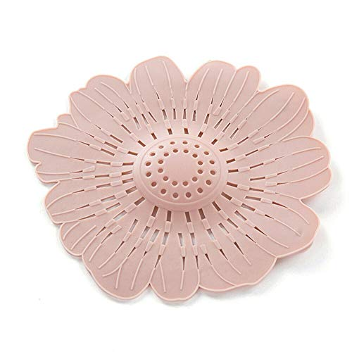 Ameglia Sink Filter Floor Drain Hair Colanders Strainers Suction Cup Type Flower Shape (Colors - Pink) ()