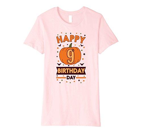 Womens Happy 9th Birthday Pumpkin Halloween Shirt Girls & Boys Gift Small Pink