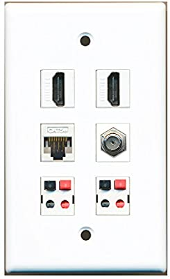 RiteAV - 2 HDMI 1 Port Coax Cable TV- F-Type 1 Port Cat5e Ethernet 2 Port Speaker Wall Plate