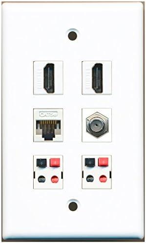 1-Gang 3 HDMI 4K 2 CAT5e RJ45 Ethernet F Coax TV Cable Port Coupler Wall Plate