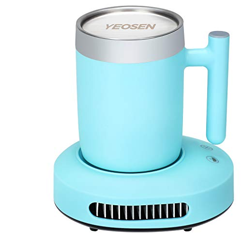 YEOSEN Coffee Mug Warmer and Cooler - 2 IN 1 Beverage Warmer and Drink Cooler with Mug, Auto Shut Off Mug Cooler and Warmer for Office Desk Use (Up to 131F or 46F), Blue