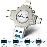 Avomoco USB 3.0 32GB 4 in 1 Flash Drive Compatible iPhone &Ipad and Android Phones Type C Devices,Tablets and MacBook,Photo Stick for iPhone&Ipad Samsung Galaxy,LG,Google Pixel,Sony,Hua Wei (Silver)