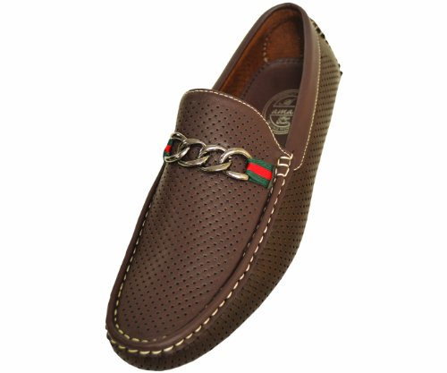 Amali Mens Casual Shoe Driving Moccasin Loafer in Brown Perforated Smooth With Silver Ornament And Colored Ribbon: Style Miles Brown-065 9 D (M) US
