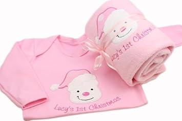 655ae77bd836 TinyGemz Personalised Baby Girl First 1st Christmas Blanket   Sleepsuit  Gift Set - 6-12