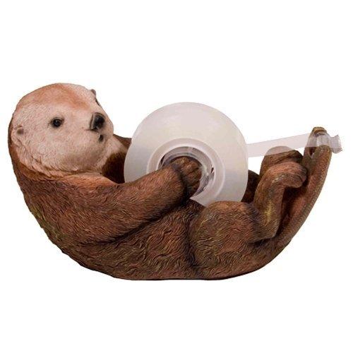 Cat Unisex White Whimsical - 1 X Otto The Otter Tape Dispenser by Streamline
