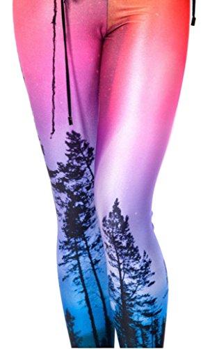 Bigood Legging Sexy Femme Pantalons Stretch Collants Pantalon de Crayon Arbre