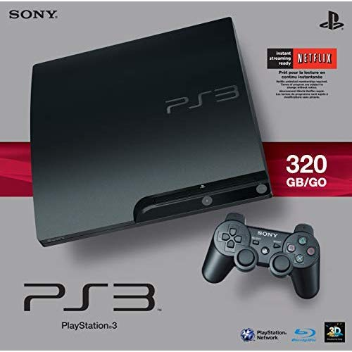 Sony PlayStation 3 Slim 320 GB Charcoal Black Console (Renewed) (Ps3 System Games)
