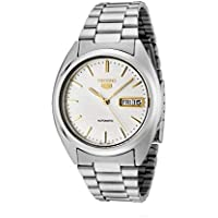 Seiko Men's 5' Japanese Automatic Stainless Steel Casual Watch, Color:Silver-Toned (Model: SNXG47)
