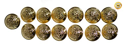 Set of 13 Premium Metal Shield Coat of Arms Buttons 25mm, 1 Inch for Pea Coats, Overcoats, Winter Coats, Military/Army Coats, Blazers, Suit Jackets, Sport Coats (Polished - Style Superior Garment Military
