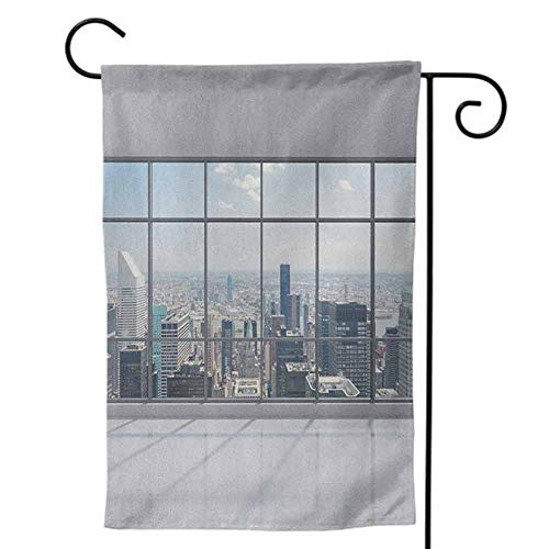 Party Galaxy Okc (Large House Flag, for Party Yard Wall Outside Door Double Sided for Holiday Seasonal City Clean Office with Big Window Downtown Skyscraper Buildings Domestic Cityscape Art Grey)
