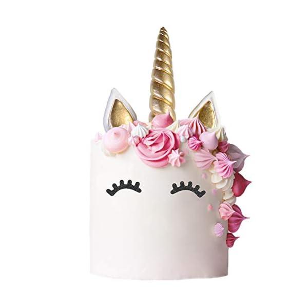 Unicorn Cake Topper with Eyelashes | Handmade Unicorn Cake Decorations, Gold Unicorn Horn, Ears, 2 Sets of Unicorn… 6