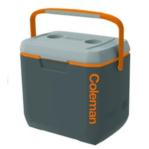 Coleman Xtreme Cooler, 28-Quart, Dark Gray/Orange/Light Gray Overmold