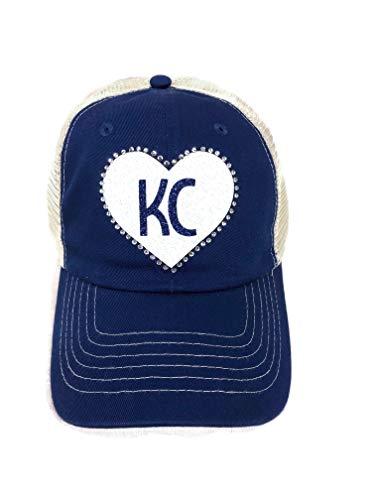 (Spirit Caps White/Blue Glitter KC Large Heart w/Rhinestones Blue/Khaki Trucker Cap Hat)