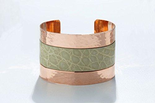 Genuine Alligator Luxury Cuff/Bracelet with Hammered Copper Finish in Pistachio (Green) - Exotic (Pistachio Finish)