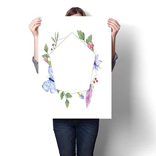 f card with flower leaves Wedding ornament concept Floral poster invite decorative greeting card or invitation design Spring card on white background Modern Wall Art for Living Ro ()