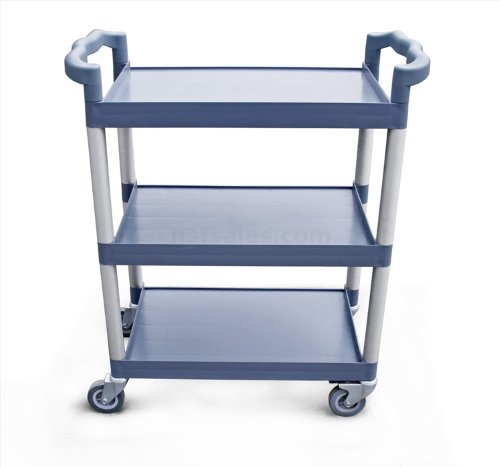 New Star 1 pc Heavy Duty Utility Cart Bus Cart 350 lbs Load 3 Tier Cart 42-1/2x19-1/2x38-1/2'' Grey by New Star Foodservice