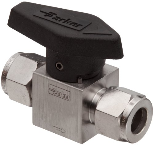 Parker 316 Stainless Steel Rotary Process Plug Valve with Fluorocarbon Rubber Seal and PTFE Back-Up Ring, 1/4