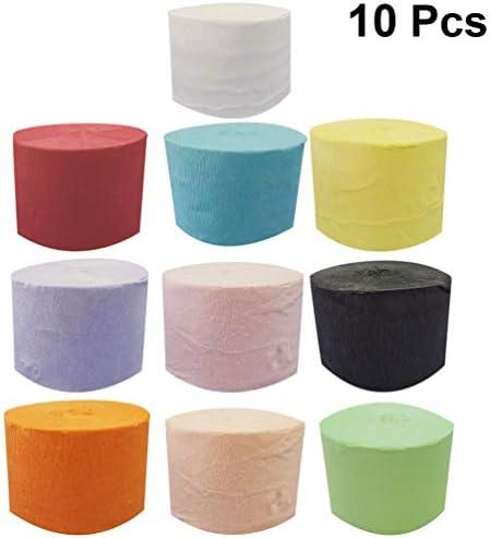POPETPOP クレープ紙 10MX10ピース クレープペーパー 手芸用紙 フラワー 造花 材料 紙アート パーティ飾りパーティー 結婚式の装飾 混合色