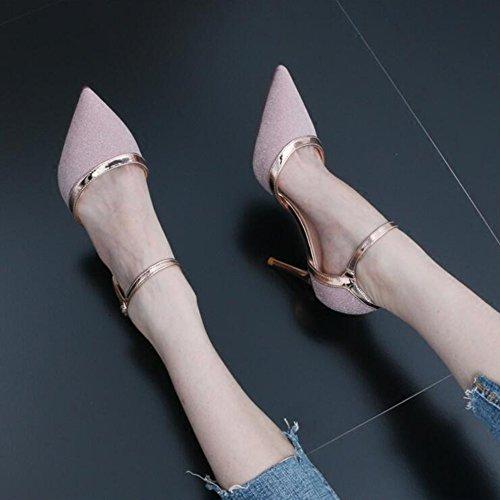 38 Tamaño DALL Zapatos Tacones EU UK5 Apuntado de Mujer Verano Uppers 5 Cabeza Sandalias tacón CN38 Y Alto De Zapatos 601 Ly 8 Brillante Primavera 7cm De gg1vqrw