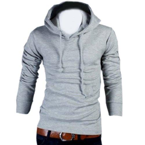 Partiss Mens Casual Slim Fit Hoodies Jacket Medium,Light Gray